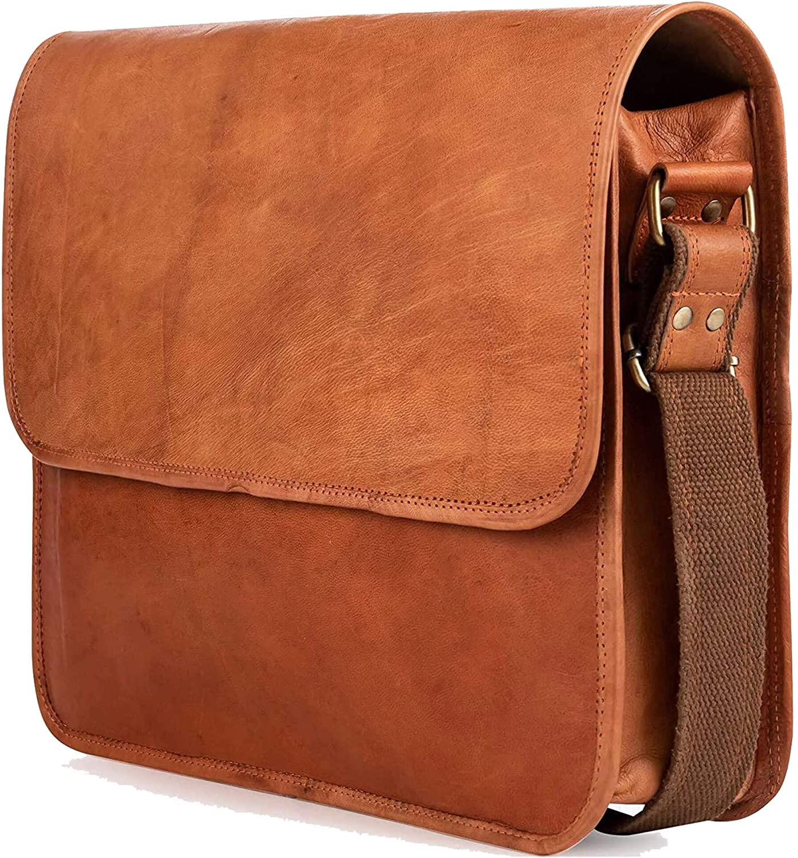 Chiko Leather Messenger Bags for Men & Women, Mens Laptop Shoulder Bag, Briefcase Office Work Bag for Executives, Vintage Brown Satchel University Bag, New Job Gift for Teen Boys, Size 15 Inch
