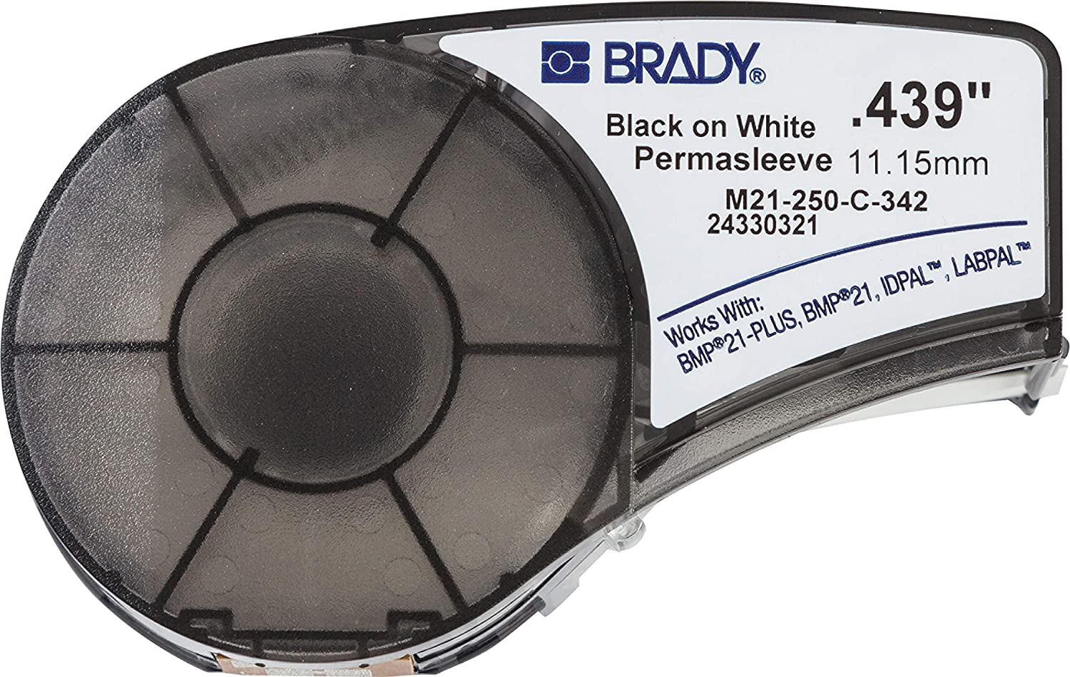Brady Official (M21-250-C-342) PermaSleeve Heat-Shrink Polyolefin Wire Marking Sleeves, Black on White - Designed for BMP21-PLUS, BMP21, ID PAL and LABPAL Printers - 7' Length, 0.439