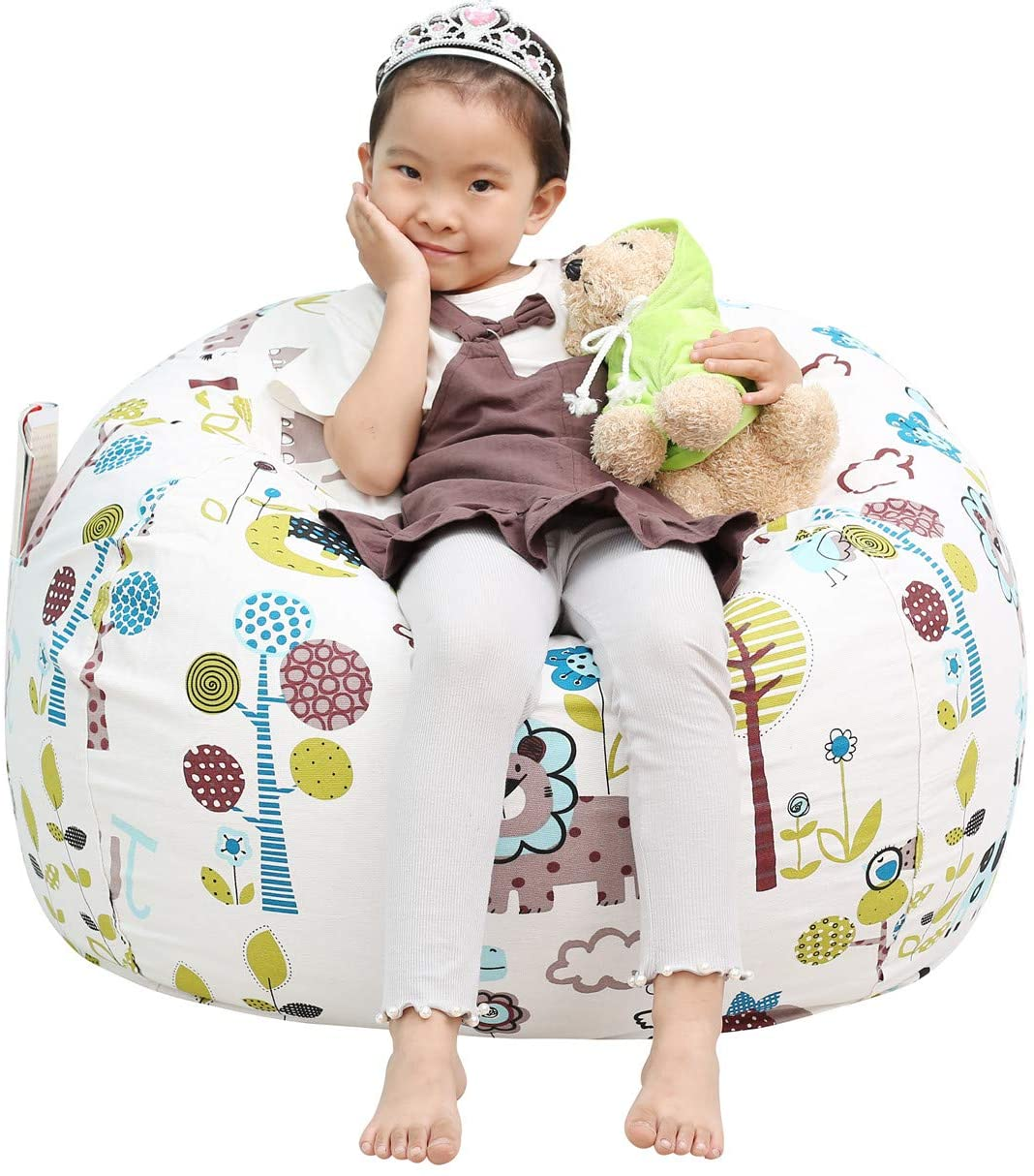 Great Eagle Stuffed Animal Storage Bean Bag Chair Cover 38 x 38 Inches   Extra Large Cotton Canvas   Bean Bag Chair for Kids, Toddlers and Teens(Boys or Girls) Toy Storage Bag Animal Paradise