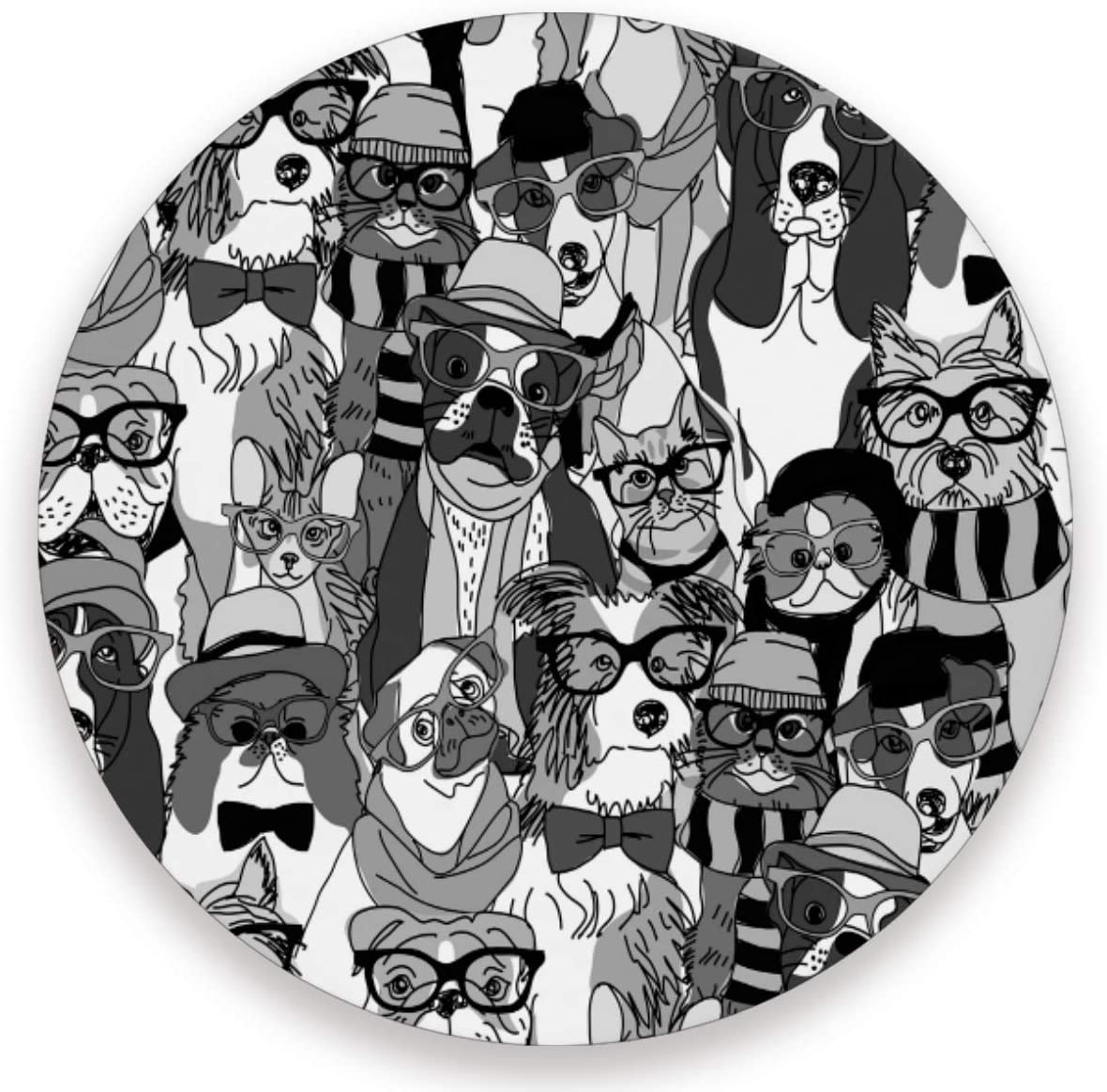 Olinyou Monochrome Animal Cats And Dogs Coasters for Drinks Set of 4 Absorbent Ceramic Stone Round Coaster with Cork Base