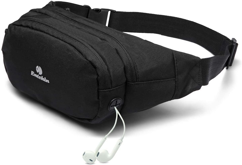 Entchin Fanny Pack for Women Men Hip Pack with Headphone Jack Lightweight Waist Bag