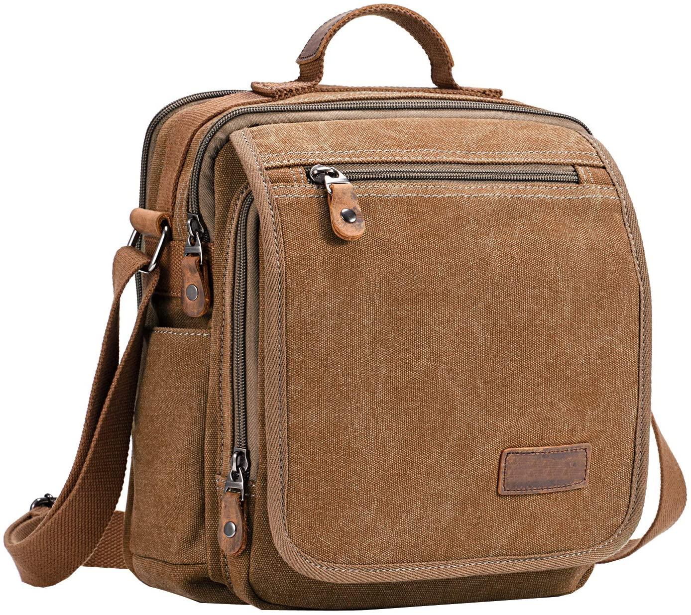 Iswee Crossbody Bag Canvas Messenger Bag for Men Canvas Shoulder Purse (Coffee)