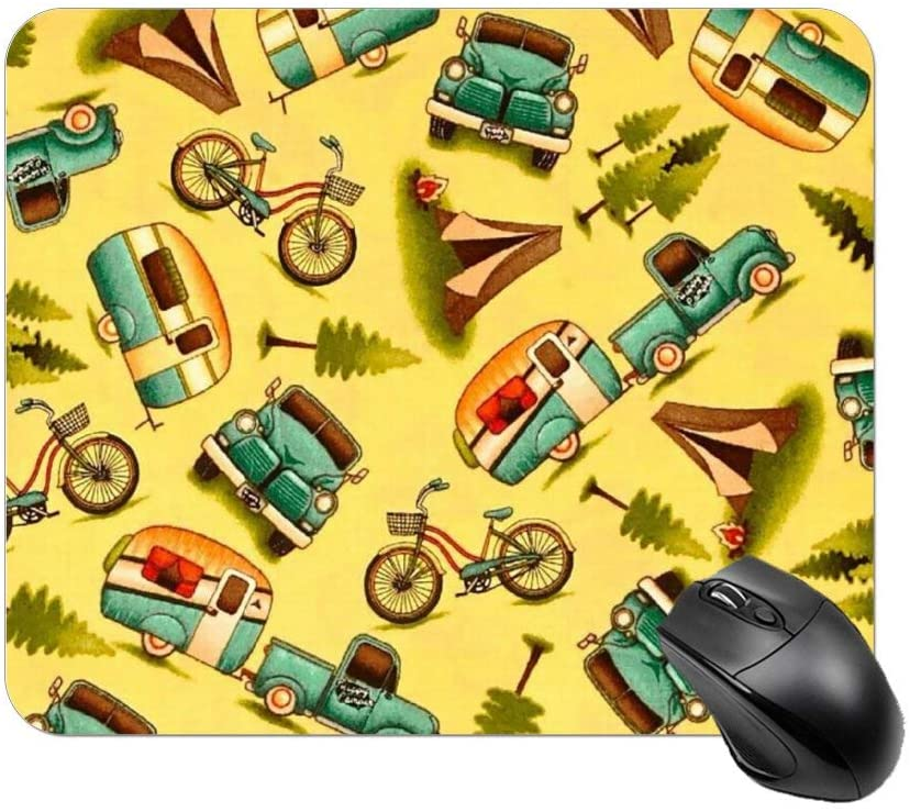 NiYoung Gaming Computer Mouse Pad,Small Size 9.8 x 11.8 x 0.1 Inch - Happy Car and Bike Camper