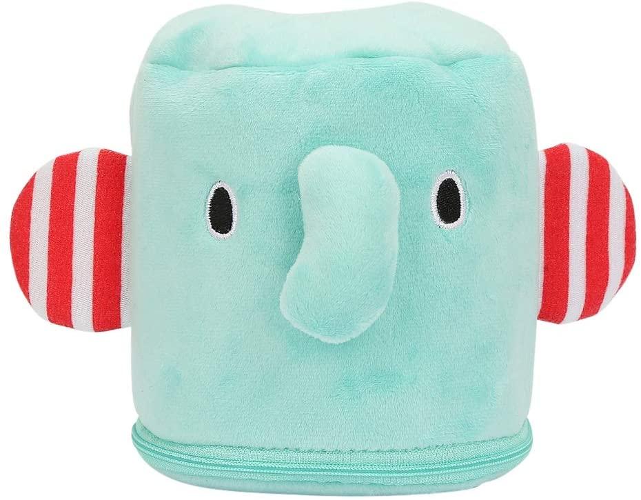 YOUTHINK Tissue Sleeve Baby Infant Lovely Elephant Soft Plush Cartoon Stroller Wipes Box Tissue Case Easy to Clean Wipes Dispenser Holder