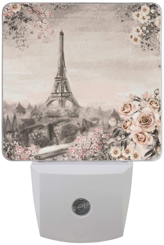 ALAZA Set of 2 Eiffel Tower Rose Flower in Paris LED Night Light Lamp Dusk to Dawn Sensor Plug in Room Decor for for Girls Boys Adults