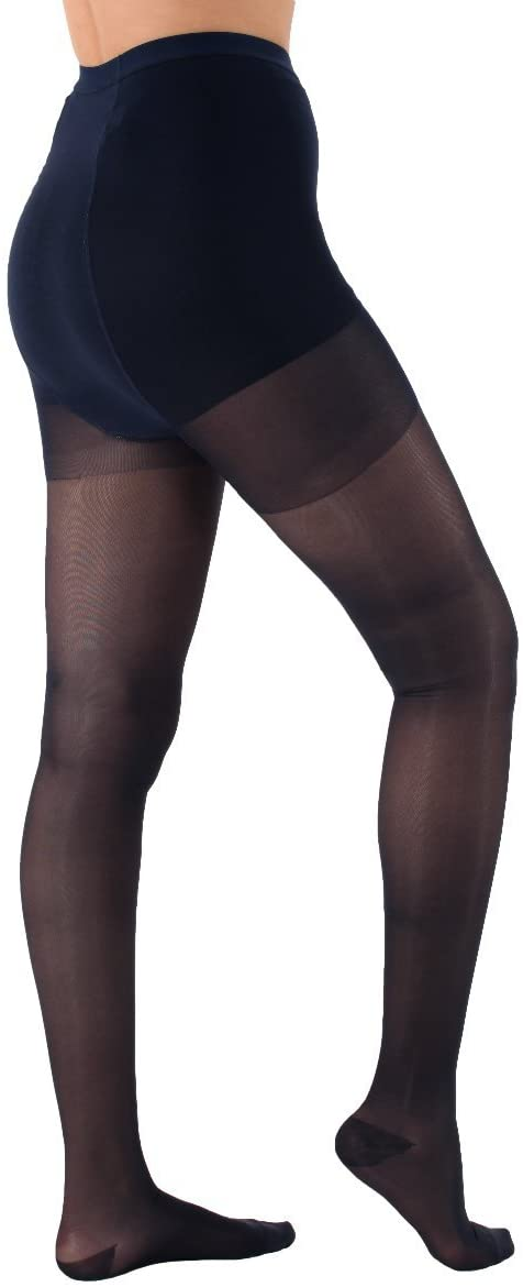 Made in The USA - Sheer Compression Pantyhose, Medium Graduated Support 15-20mmHg, 1 Pair - Absolute Support - SKU: A103 (Navy, Medium)