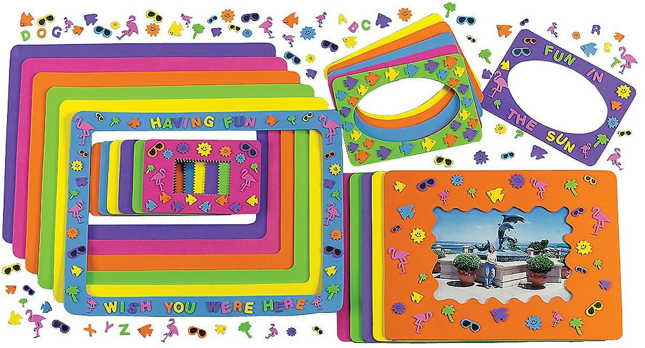 Foam Summer Fun Picture Frames Craft Kits (24 Photo Frames) Crafts for Kids and Fun Home Activities