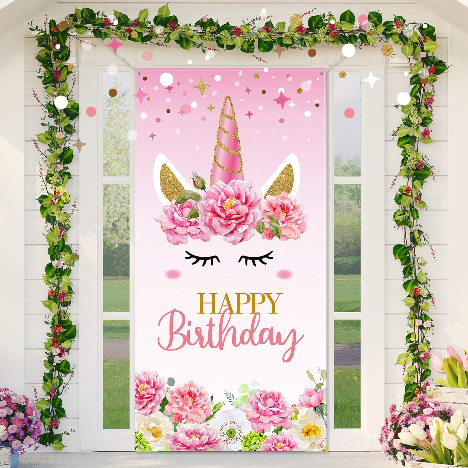 Unicorn Happy Birthday Backdrop Unicorn Party Decoration, Large Fabric Pink Floral Unicorn Door Banner Background for Kids Girls Birthday Baby Shower Party Supplies, 70 x 35 Inch