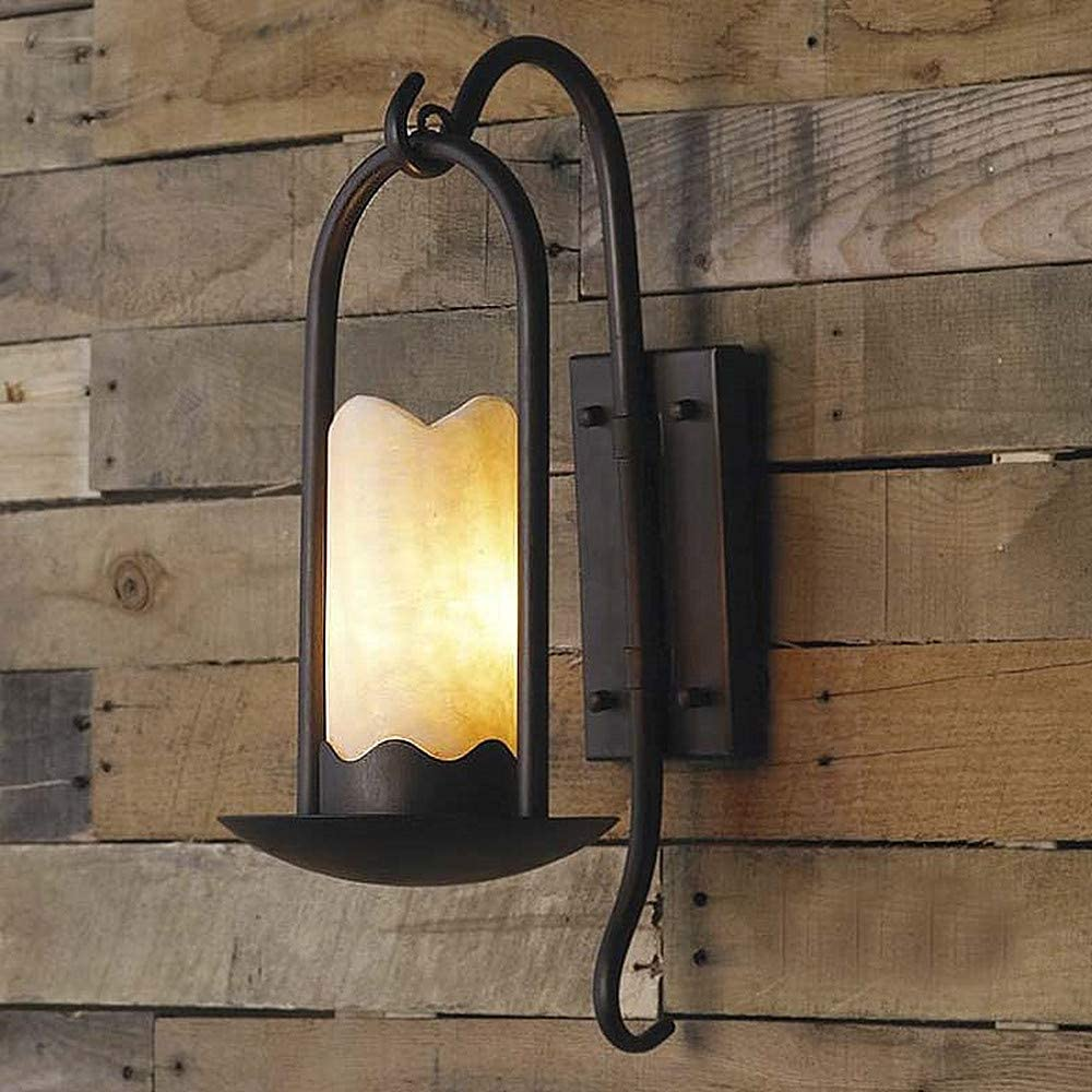 Ladiqi Industrial Vintage Wall Sconce Lighting Fixture Loft Retro Indoor Wall Lamp Light Cylindrical Alabaster Shade Beside Light Sconce Black for Bar Restaurant Staircase