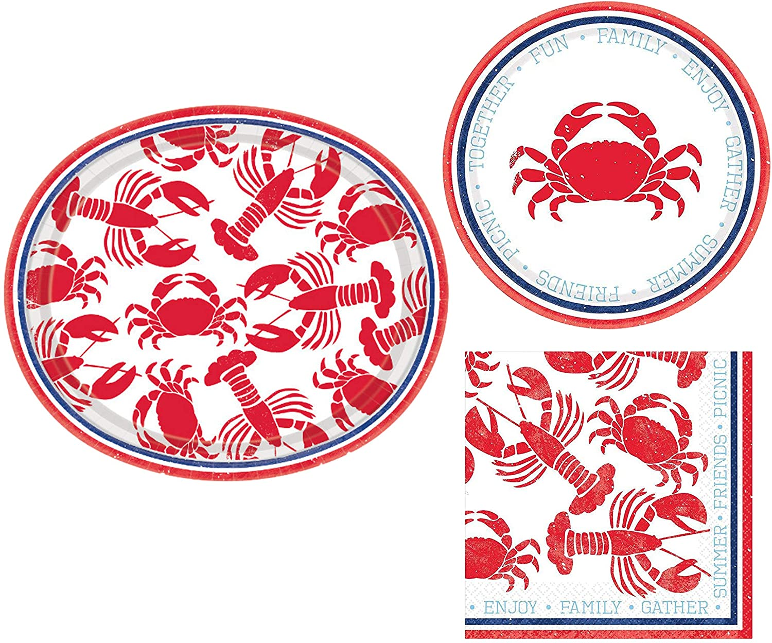 Summer Seafood Themed Party Supplies for 8 Guests - Includes Paper Plates and Napkins