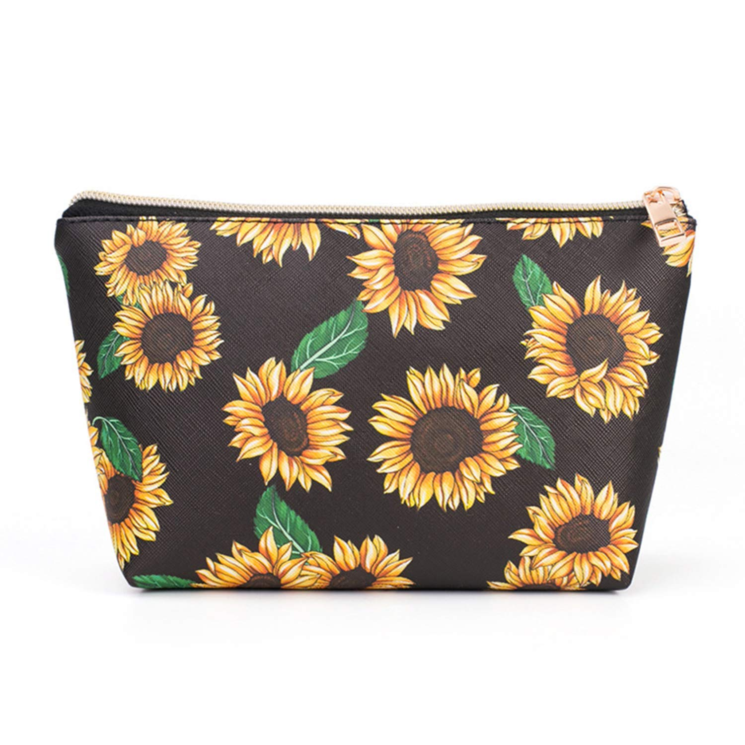 Sunflower Black Women Travel Makeup Bags,Cosmetic Cases Waterproof Floral Travel Purse Portable Zipper Makeup Bags Organizers