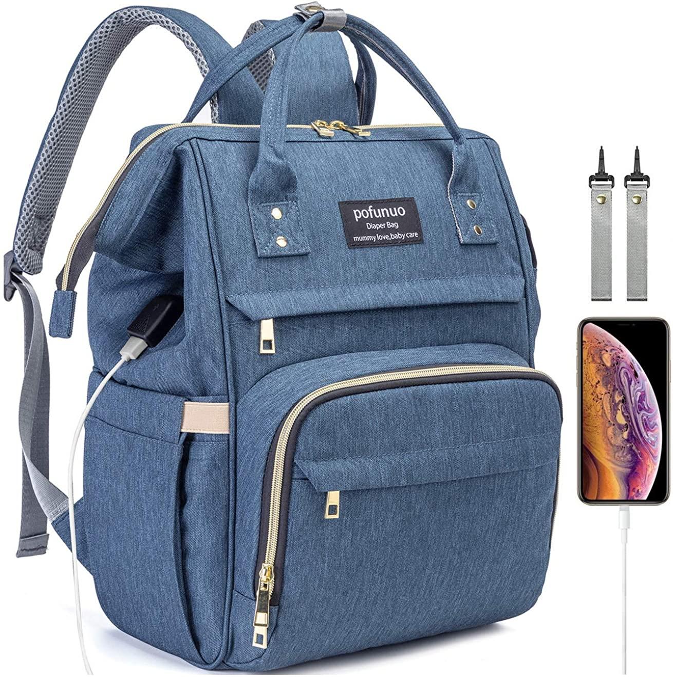HLMBB Diaper Bag Backpack, Large Capacity for Baby Multifunction Waterproof USB Port