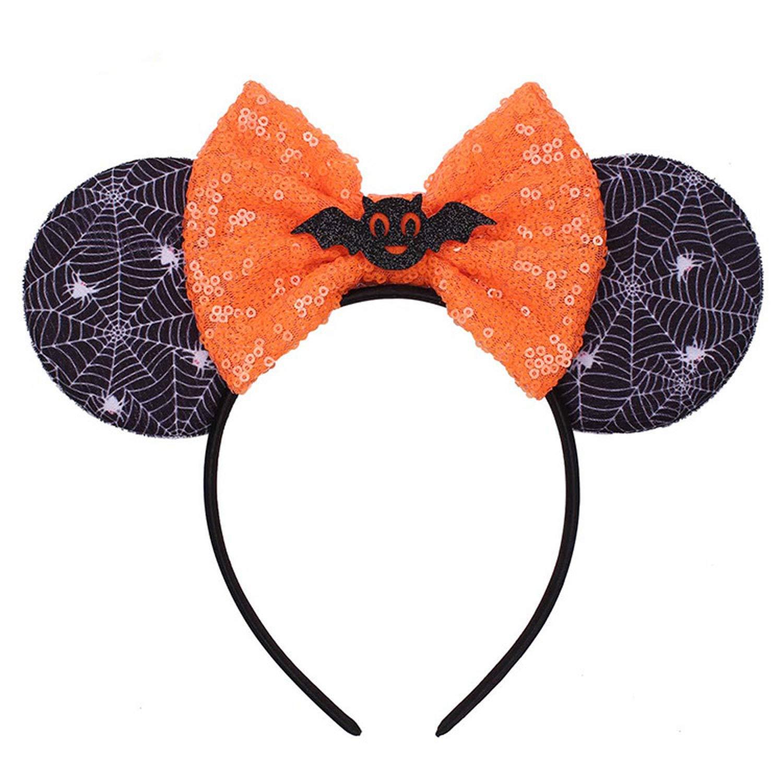K T One Minnie Mickey Mouse Ears Headbands& Bows, Mermaid Girls Women Headband for Cosplay Costume Princess Party Birthday Decorations (Spiderweb+ Bat)