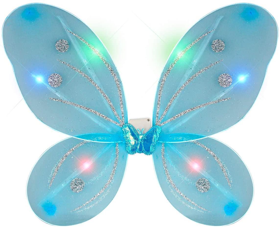 FlashingBlinkyLights Aqua Light Up Fairy Wings