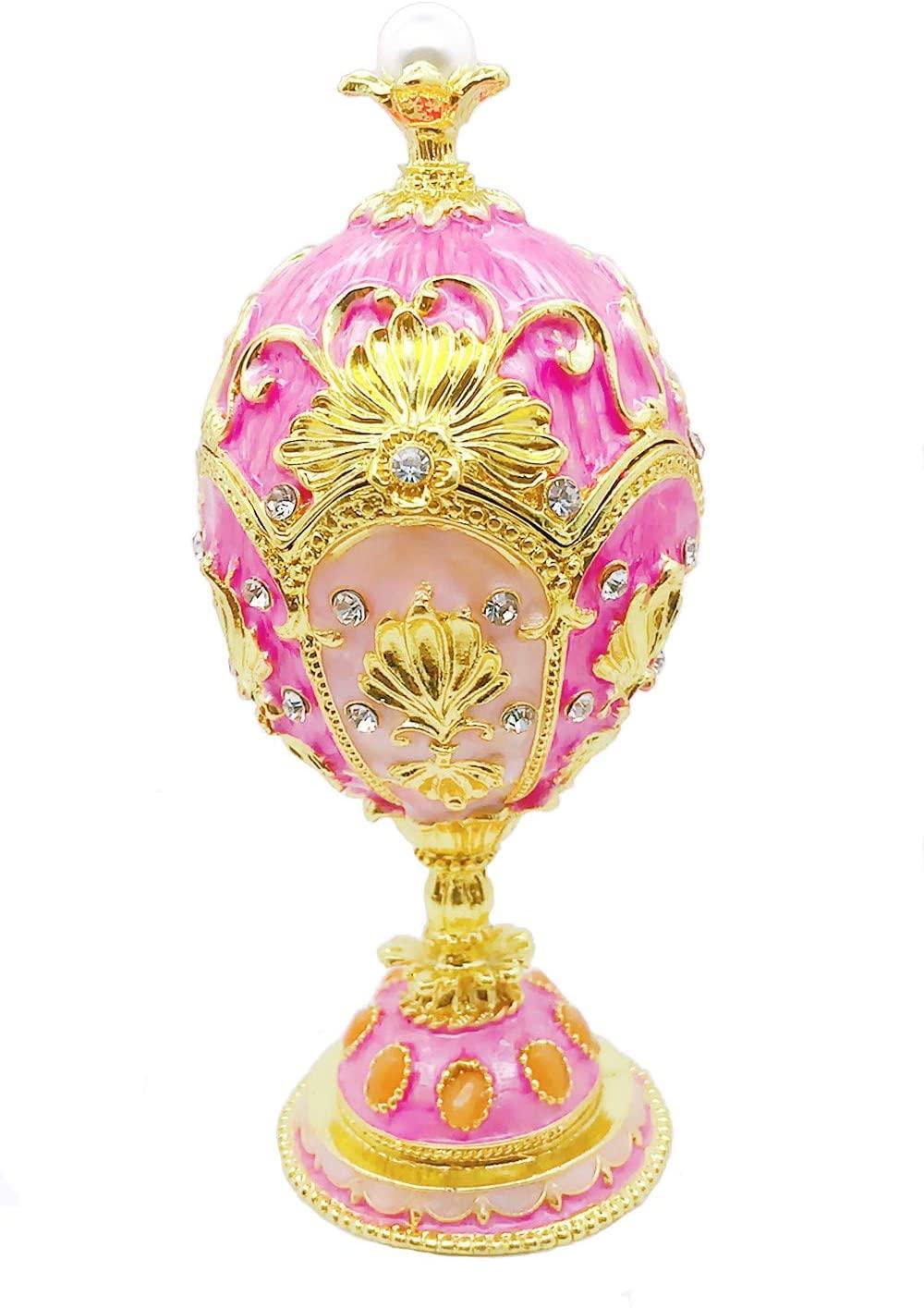 Gishima Hand Painted Enameled Faberge Egg Decorative Hinged Jewelry Trinket Box for Home Decor or Unique Gift