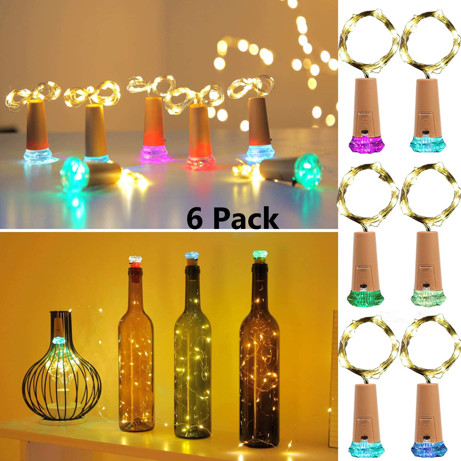 KZOBYD Wine Bottle Lights with Cork 6 Pack Fairy Battery Operated Mini Lights Diamond Shaped LED Cork Lights for Wine Bottles DIY Party Decor Christmas Halloween Wedding Festival (Warm White)