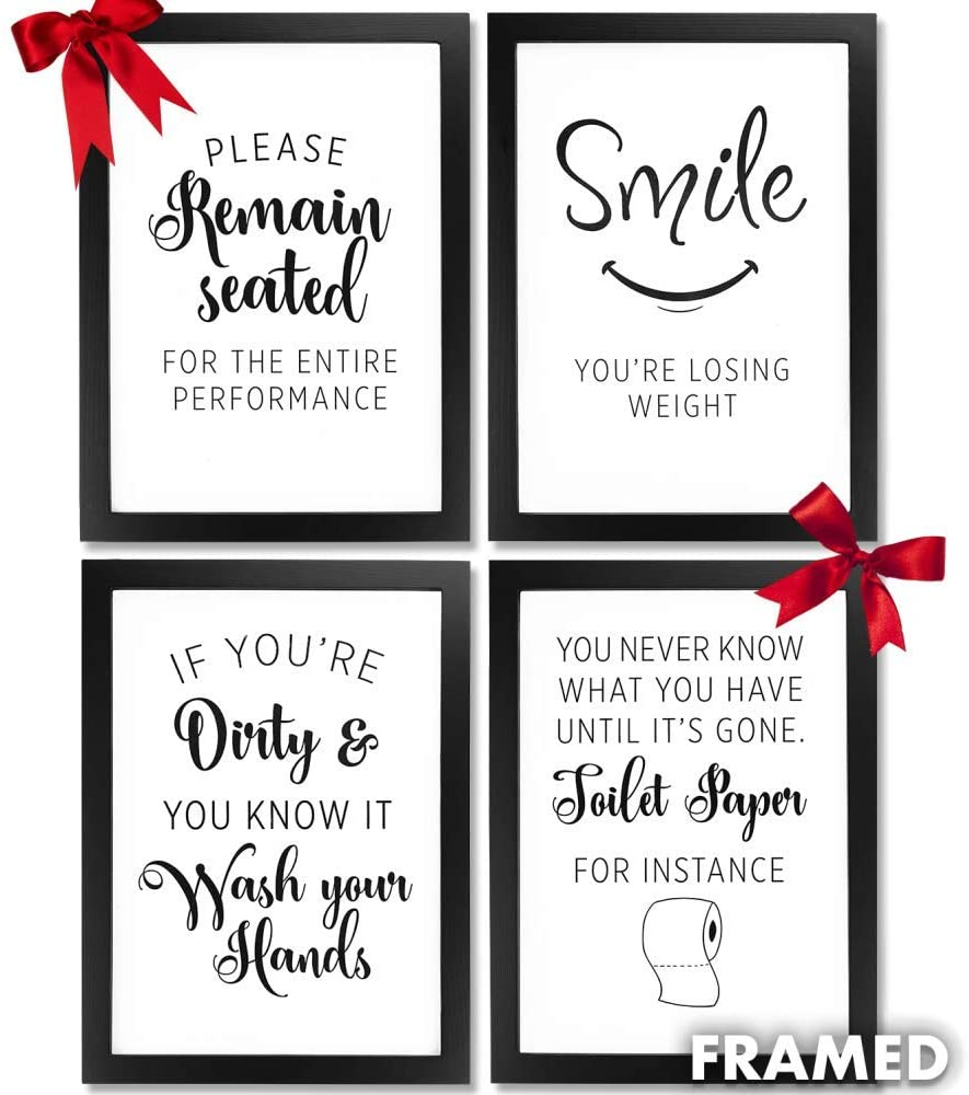 Bathroom Pictures Wall Frames Decor. Framed wall art quotes for farmhouse rustic country or modern room home decor accessories (4pc) Multi black picture certificate frame A4 prints & wall hook