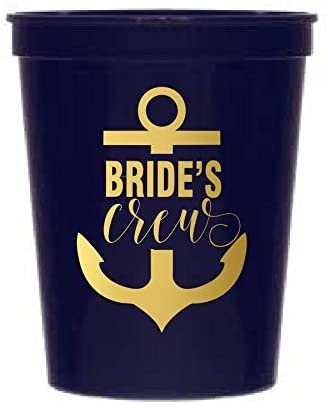 Navy Blue Bride's Crew Cups, Large Anchor, Nautical Bachelorette Party, Stadium Cups, Nautical Party Decor