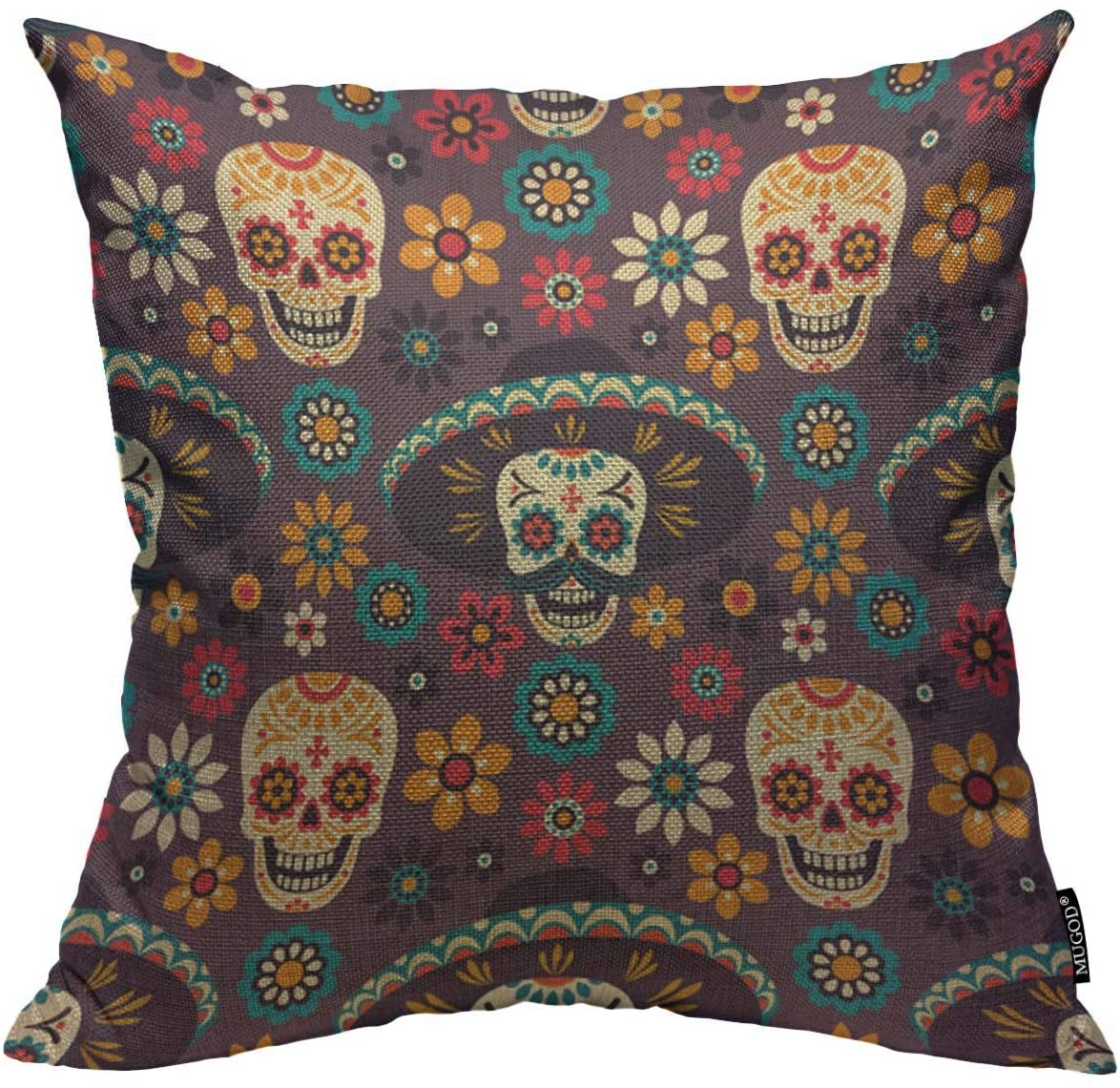 Mugod Day of The Dead Decoration Throw Pillow Cushion Covers Sugar Skulls and Flowers on Dark Background Decorator Funny Pillows for Sofa Fall Home Decor Couch Pillow Case 18 X 18 Inch
