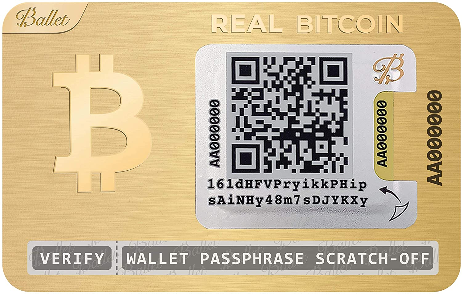 Ballet Real Bitcoin, 24K Gold-Plated - Physical Cryptocurrency Wallet with Multicurrency Support, Stainless Steel (1 Single)