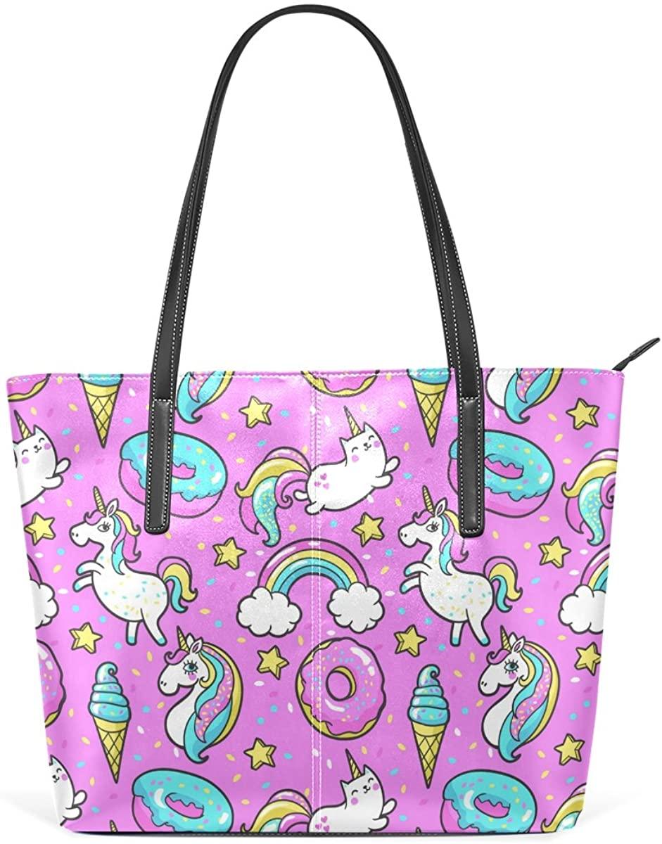 WOZO Pink Unicorn Ice Cream Rainbow PU Leather Shoulder Tote Bag Purse for Women Girls