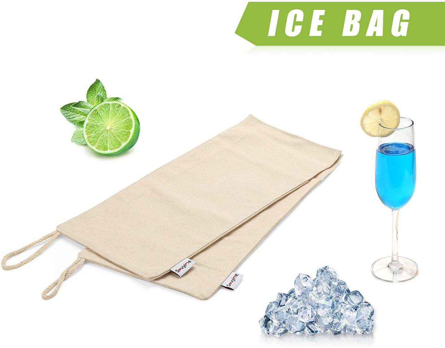 Handmade Reusable Lewis Durable Canvas Ice Bag (8 x 12.5 inch) for Ice Crushing - 2 Packs Beige