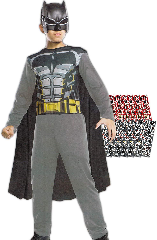 Batman Costume for Kids Boys - Bundle Includes Suit, Mask and Stickers (Medium, Size 5-7)
