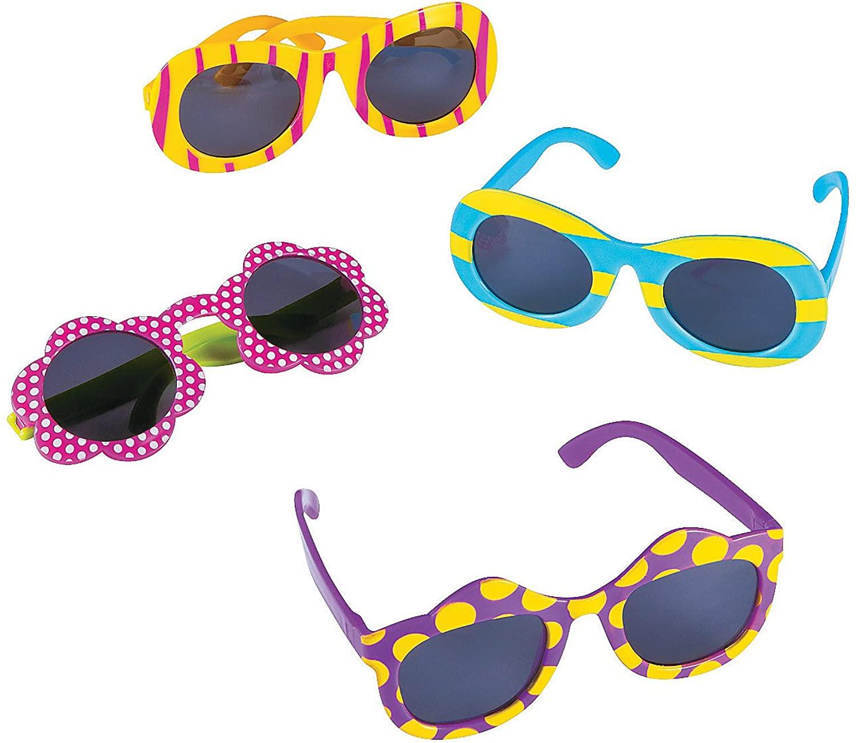 Fun Express - Kids Fun Design Sunglasses - Apparel Accessories - Eyewear - Sunglasses - 12 Pieces