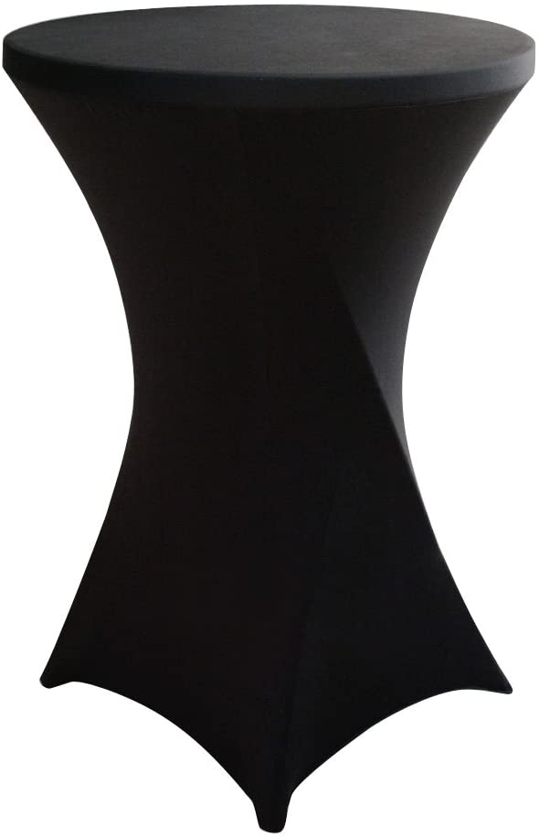 JISEN Cocktail Spandex Fitted Stretchable Elastic Square Corners Tablecloth 24x43 Inch A-Black