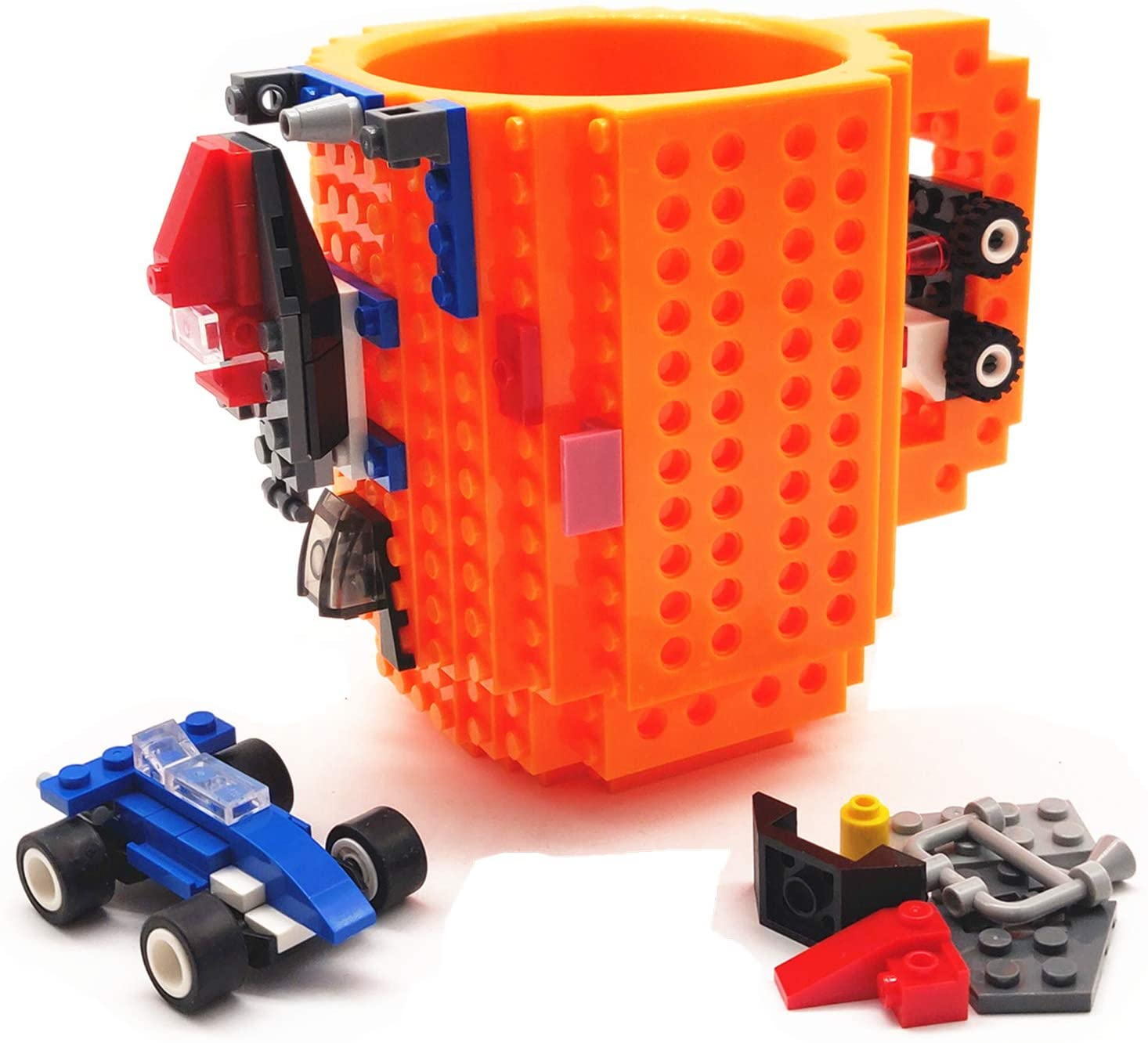 BUTLING Build-On Brick Mug, Creative DIY Building Blocks Coffee Cup, Water Bottle Puzzle Toy Mug, Desk Ornament, Unique Christmas Gift Idea, Compatible with Lego (Orange)