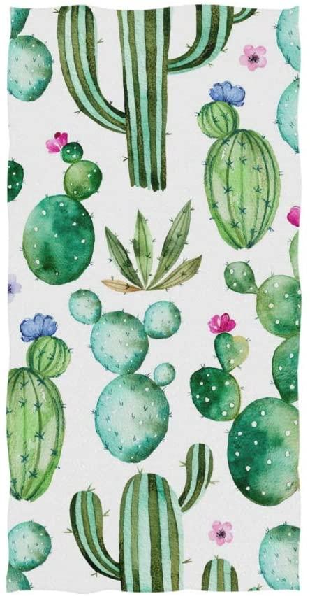 ZOEO Cactus Hand Towel Green Succulents Plants Floral Flower Dish Towels Cotton Face Towel Bath Decor Set for Girls 30x15 inch Gym Yoga Towels