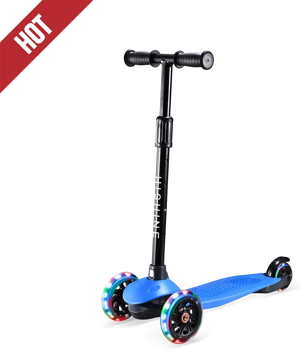Hishine Kick Scooter Height Adjustable Lean to Steer with Flashing PU Wheels 3 Wheel Toy Folding for Kids Boys Girls