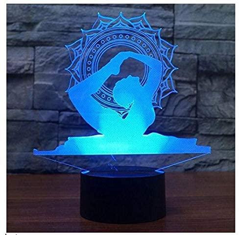 3D Yoga Dancer Night Light Touch Switch 7 Color Change LED Table Desk Lamp Acrylic Flat ABS Base USB Charger Home Decoration Toy Brithday Xmas Kid Children Gift