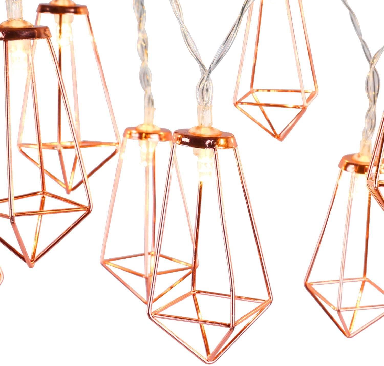 Lewondr String Lights Geometric Rose Gold Diamond LED Metal Fairy Lights 3m/9.8ft 20 LED USB & Battery Powered Twinkle Lights for Bedroom Wedding Christmas Home Decoration - Warm White