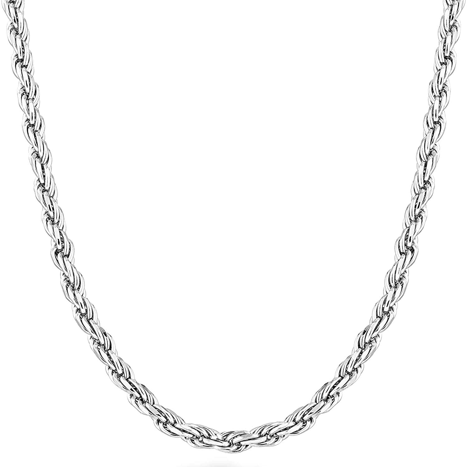 Savlano 925 Sterling Silver 3.5mm Solid Italian Rope Diamond Cut Twist Link Chain Necklace With Gift Box For Men & Women - Made in Italy