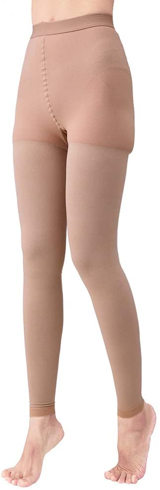 Medical Compression Pantyhose Women, Support 20-30 mmHg Treatment Swelling, Opaque Compression Stockings Graduated Support Hose Helps Relieve Symptoms of Varicose Veins Edema (Beige, Medium)