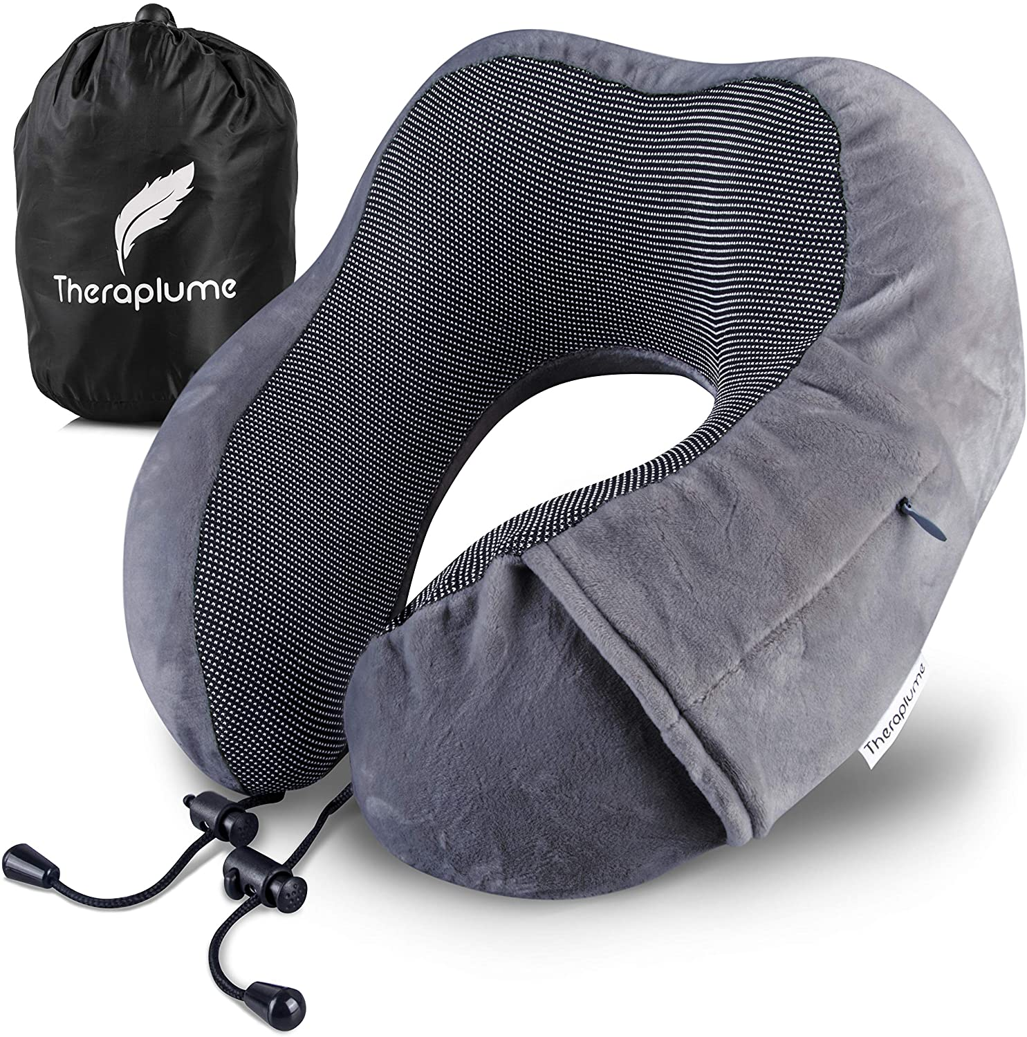 Theraplume Travel Pillow: Premium Memory Foam Airplane Pillow with Ultra Plush Cover - Comfortable Breathable Machine Washable Adjustable Neck, Head and Chin Support with Bag (Charcoal Grey)