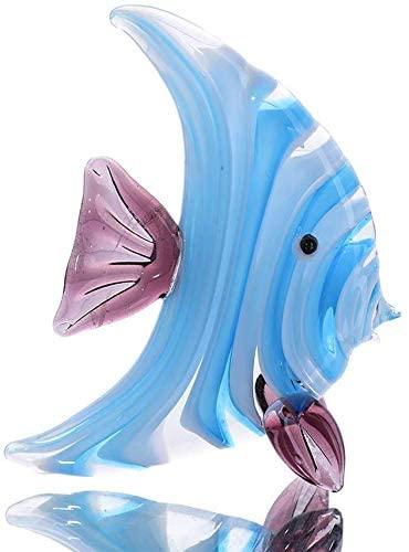 crystalsuncatcher Glass Figurines Sea Life Tropical Fish Murano Art Minitures Handicraft Animal Figure for Fish Tank Ornament or Aquarium Decorations (Fish)