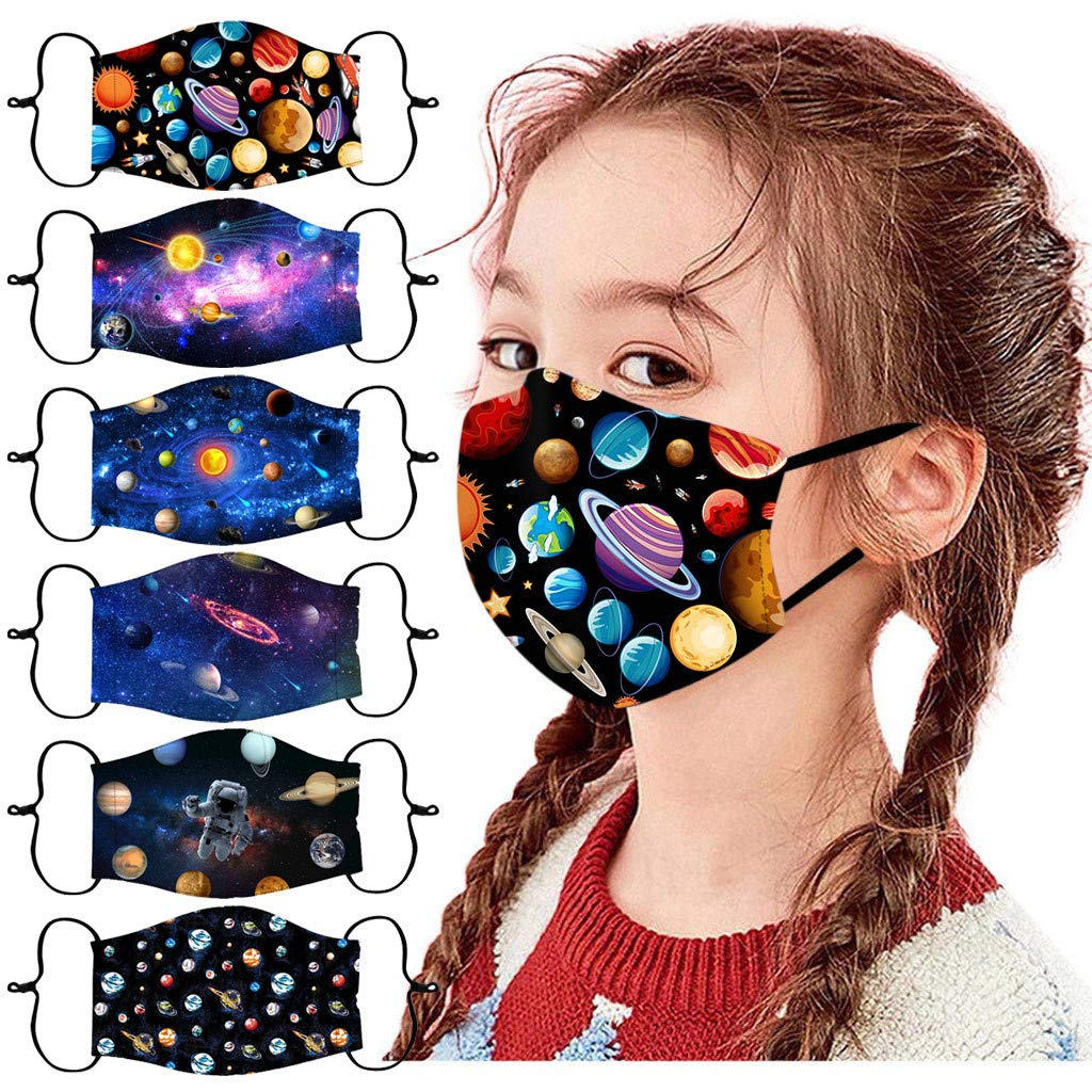 Walsent 6PCS Kids Reusable Face Bandanas Breathable Seamless Cute Space Print Cotton Adjustable Safe Protective Outdoor for Children