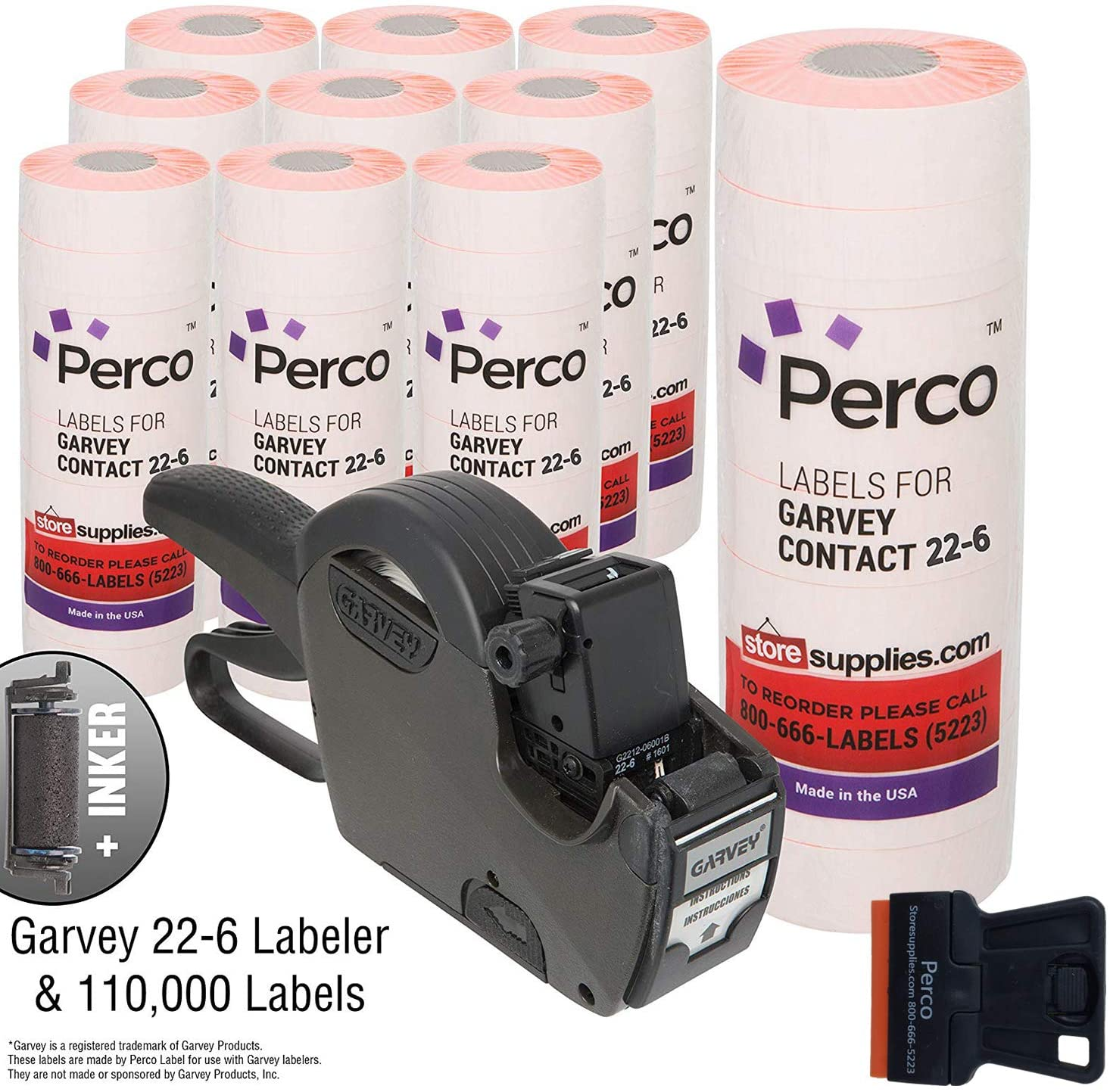 Garvey 22-6 Pricing Gun with Labels Value Pack: Includes Garvey 22-6 Price Gun, 110,000 Fluorescent Red Pricemarking Labels, 8 Bonus Inkers