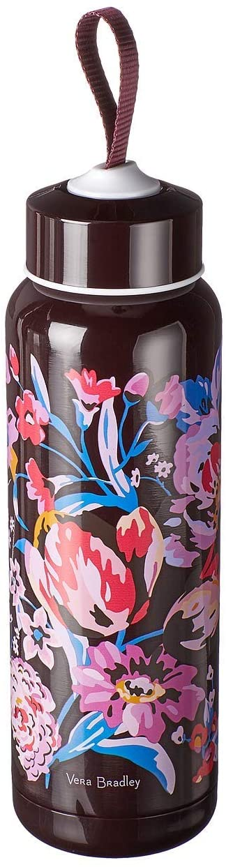 Vera Bradley Floral Double Wall Stainless Steel Insulated 17 Ounce Water Bottle, Indiana Rose