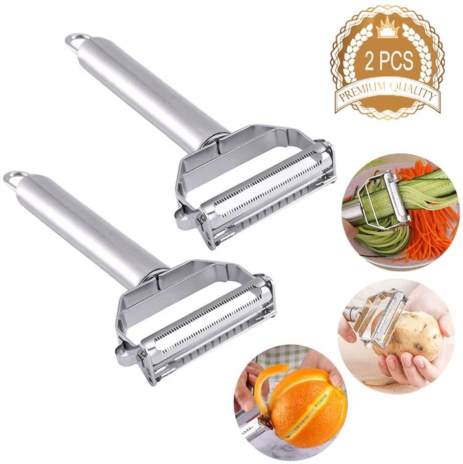Hamnor 2 Packs Stainless Steel Julienne Vegetable Fruit Peelers Multipurpose Ultra sharp Peelers