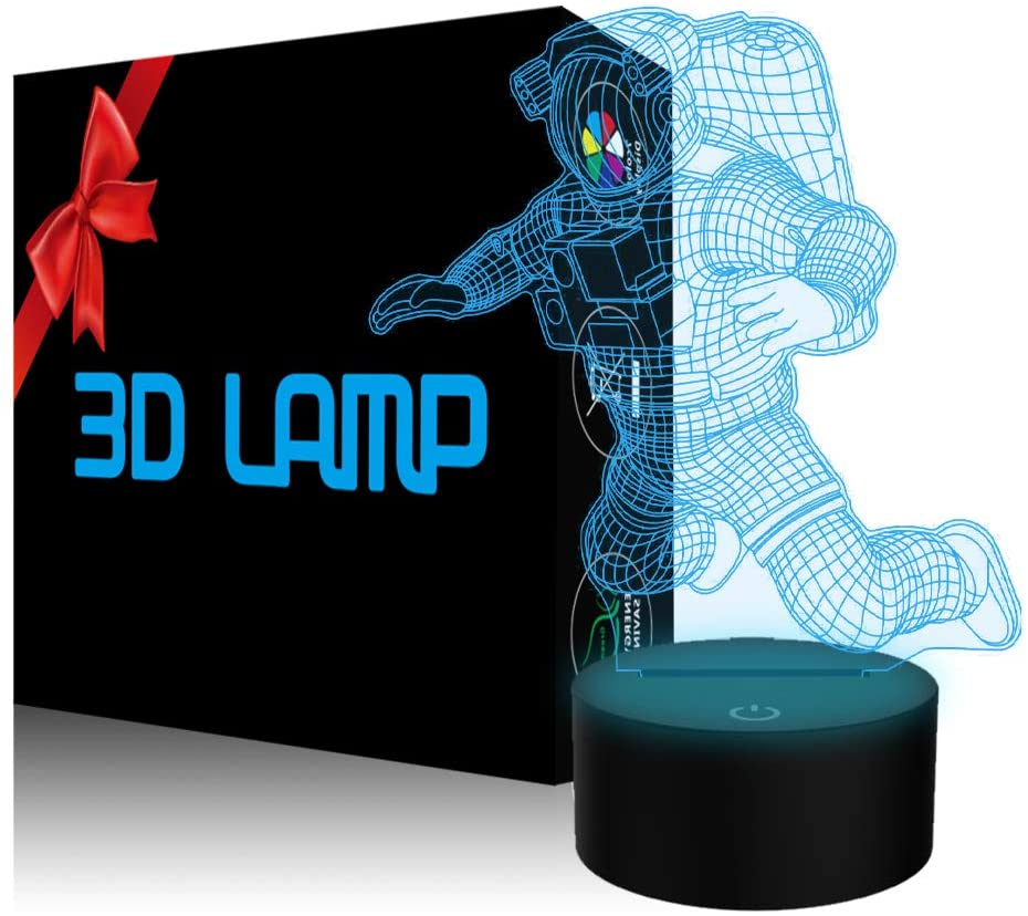 YKLWORLD Spaceman Night Light 3D Astronaut Illusion Lamp LED Aviation Nightlight 7 Color Changing Touch Sensor Desk Table Lamp with USB Cable Decor for Kids Nursery Bedroom Outer Space Fan Gifts