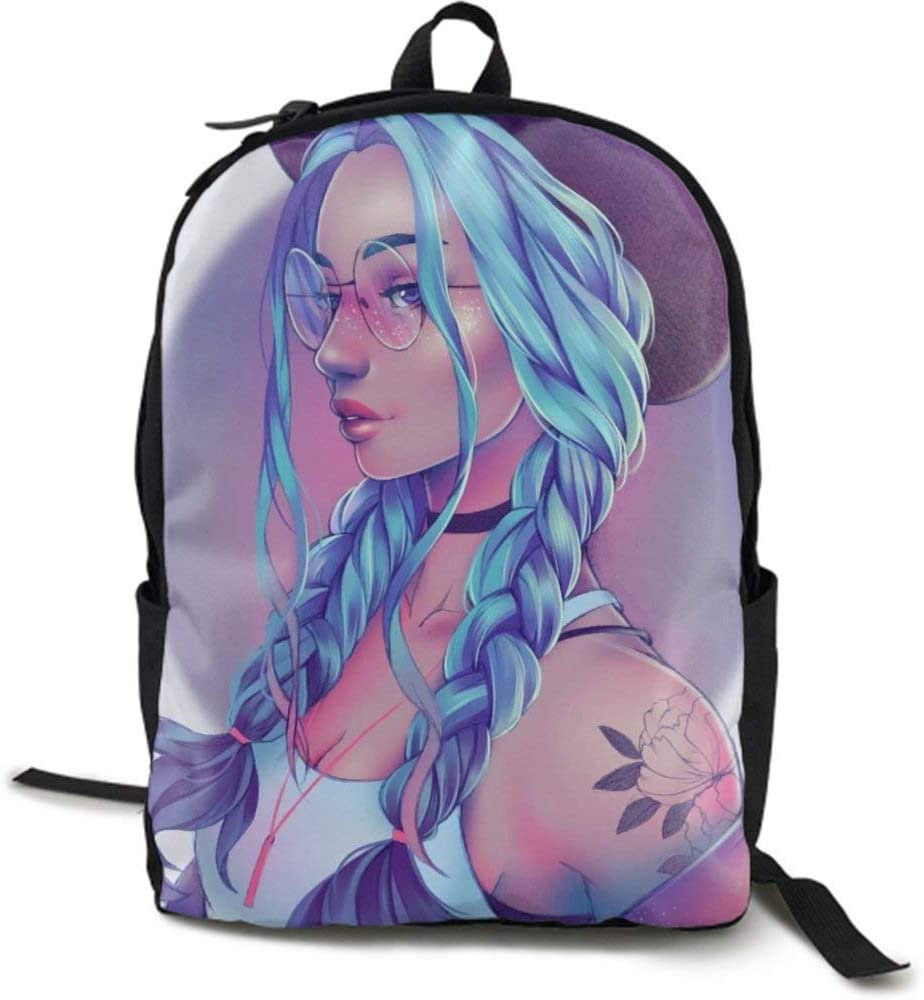 NiYoung Casual Daypack Big Capacity Multipurpose Anti-Theft Shoulder Bag Backpack for Trekking Outdoors Bicycle - Anime Girl with Glasses Blue Hair, Travel Hiking Backpack