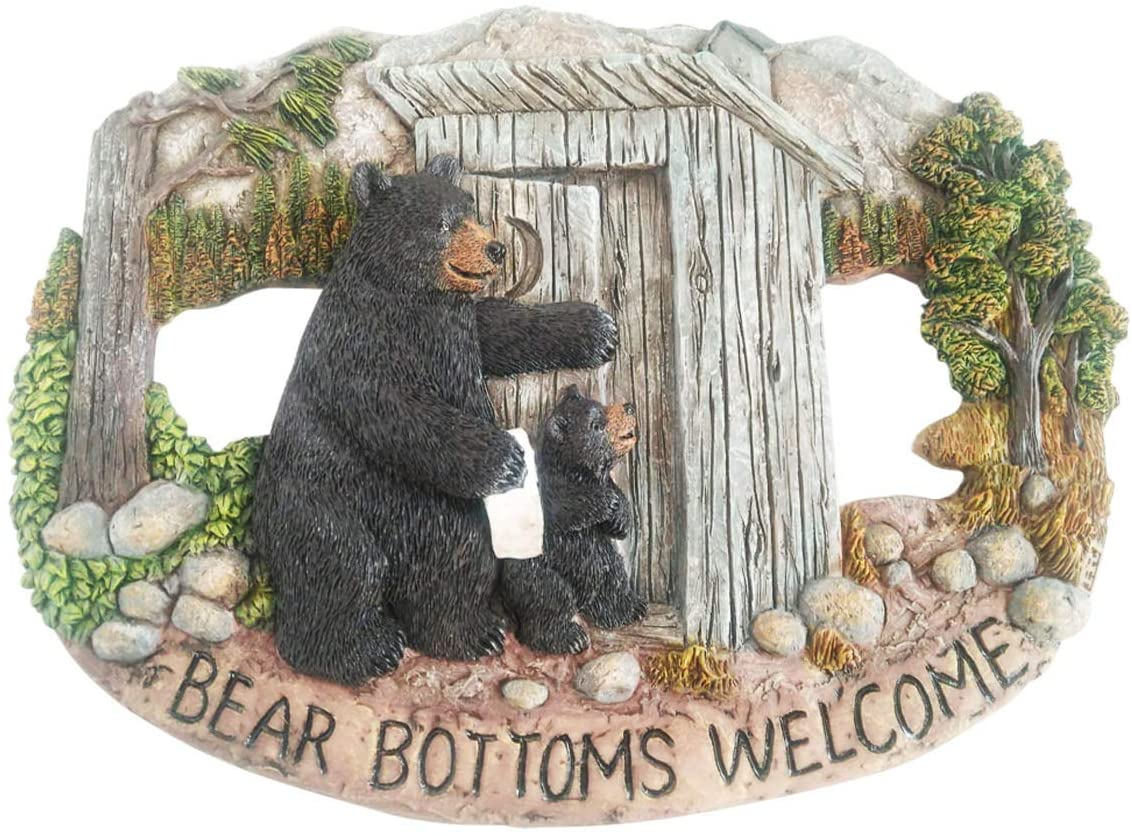 Black Bear Decorations for Home - Mama Bear Sign Bear Bottoms Welcome Home Decor Bear Cabin Wall Hanging - Wilderness Bathroom Decor Welcome Bear Sign - Bear Wall Decor Bear Pictures Wall Art