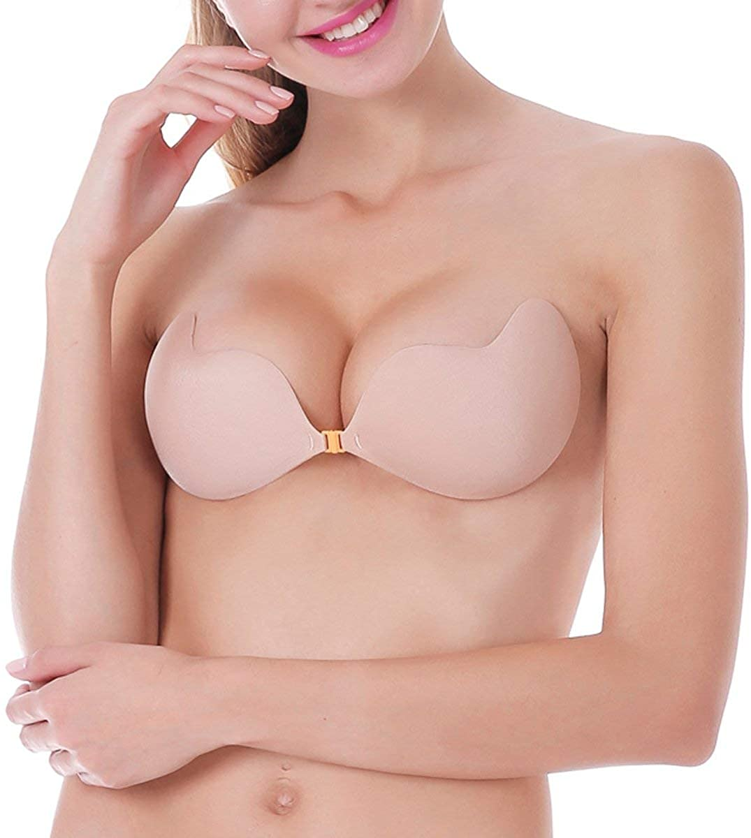 MITALOO Push up Strapless Self Adhesive Plunge Bra Invisible Backless Sticky Bras Beige