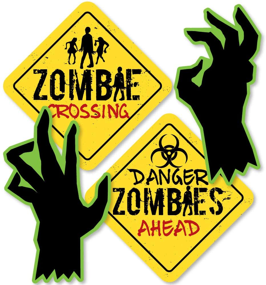 Big Dot of Happiness Zombie Zone - Sign and Zombie Hand Decorations DIY Halloween or Birthday Zombie Crawl Party Essentials - Set of 20