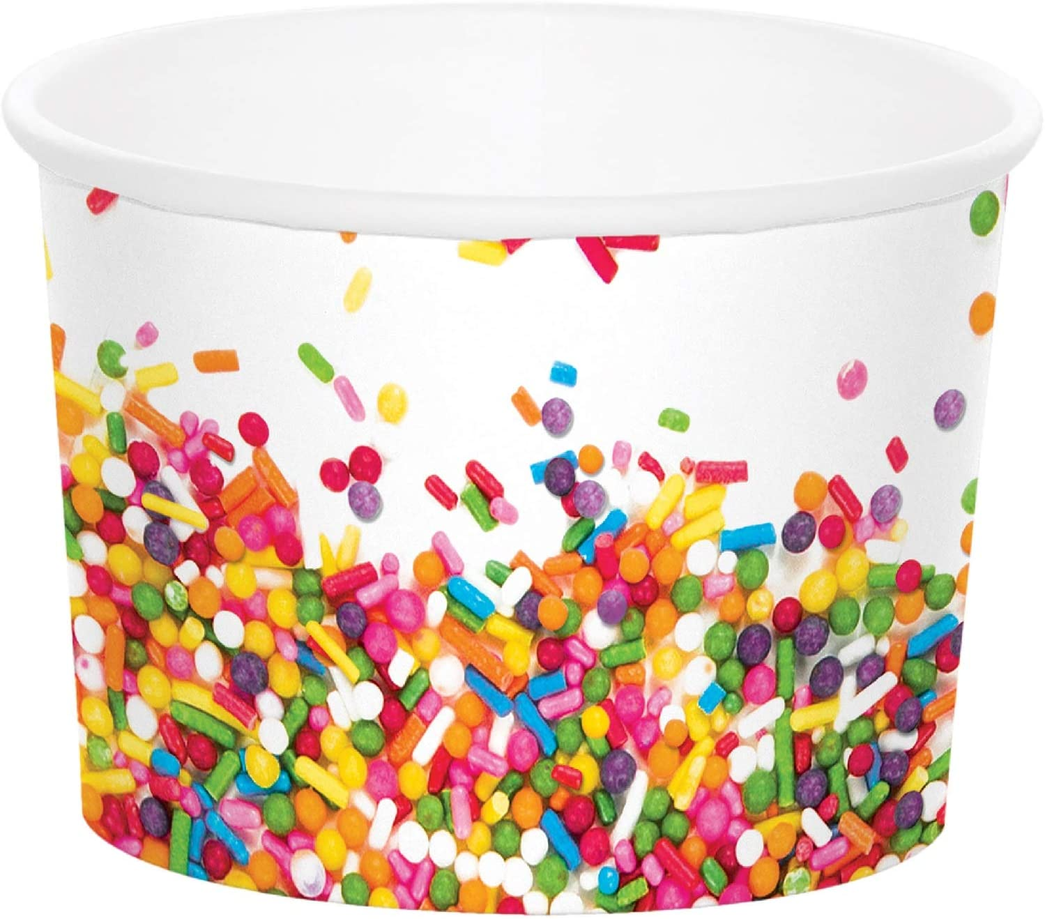 """Party Central Club Pack of 72 White and Rainbow Sprinkles Disposable Treat Cups 3.5"""""""