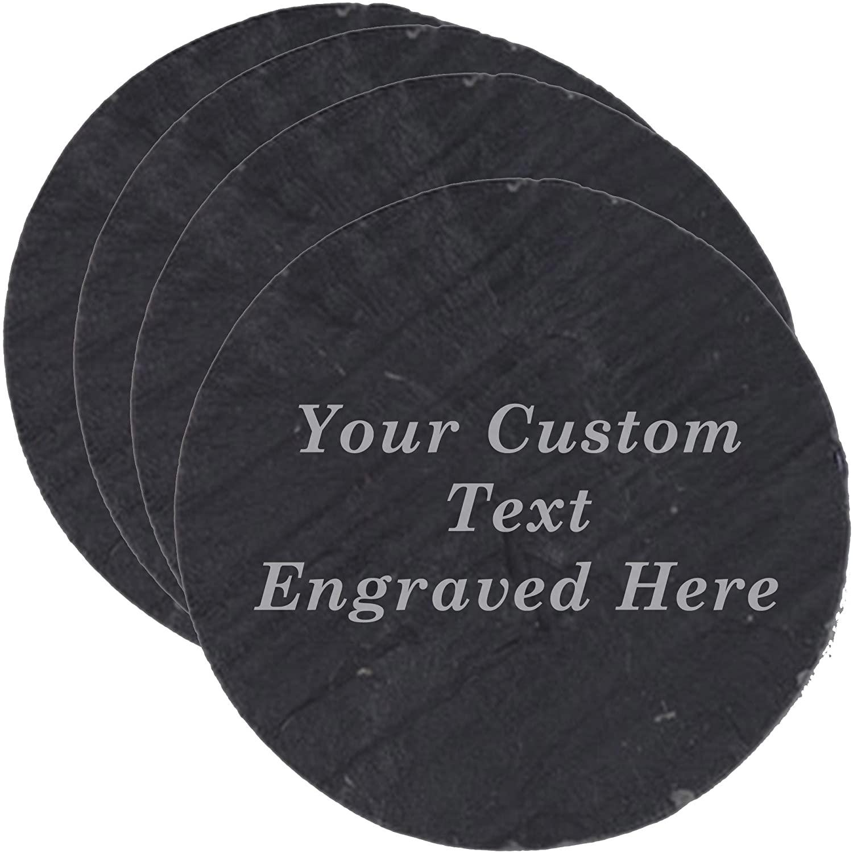 Hat Shark Custom Personalized Set of 4 Slate Coasters - Engraved Wedding Couples Gift (Round)
