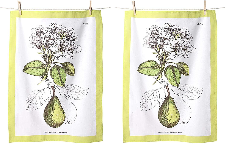 KAF Home Flour Sack Kitchen Dish Tea Towel, Set of 2, 100-Percent Cotton, 20 x 30-Inch (Pears)